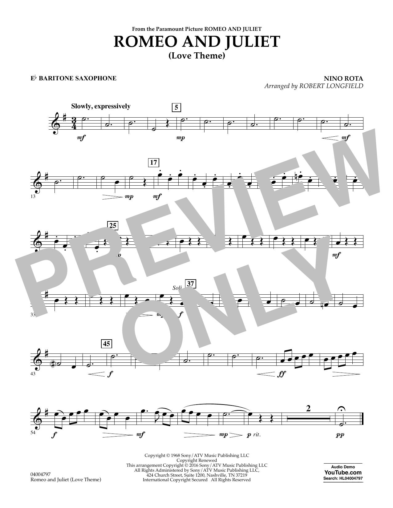 Romeo and Juliet (Love Theme) - Eb Baritone Saxophone (Concert Band)