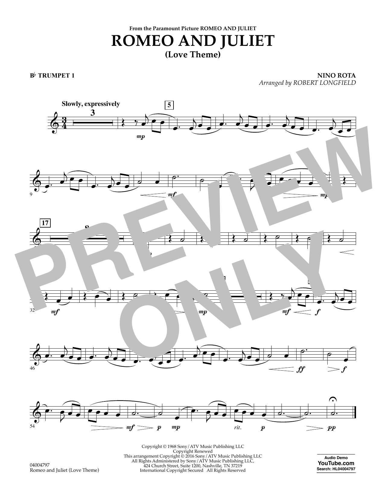 Romeo and Juliet (Love Theme) - Bb Trumpet 1 (Concert Band)