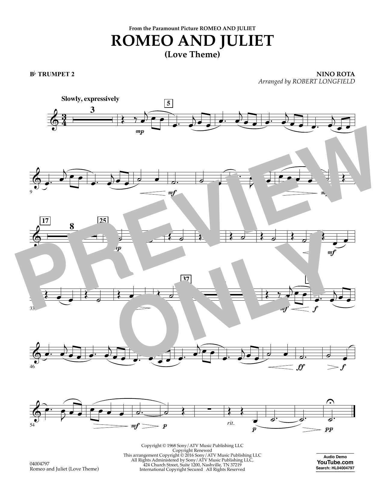 Romeo and Juliet (Love Theme) - Bb Trumpet 2 (Concert Band)