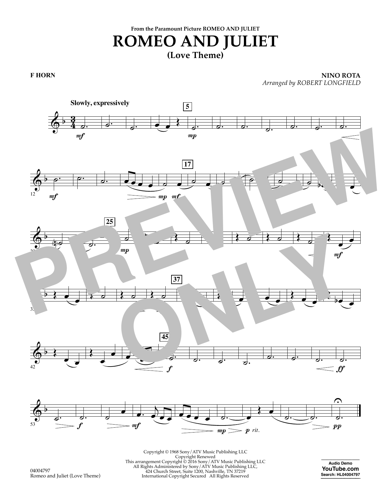 Romeo and Juliet (Love Theme) - F Horn (Concert Band)