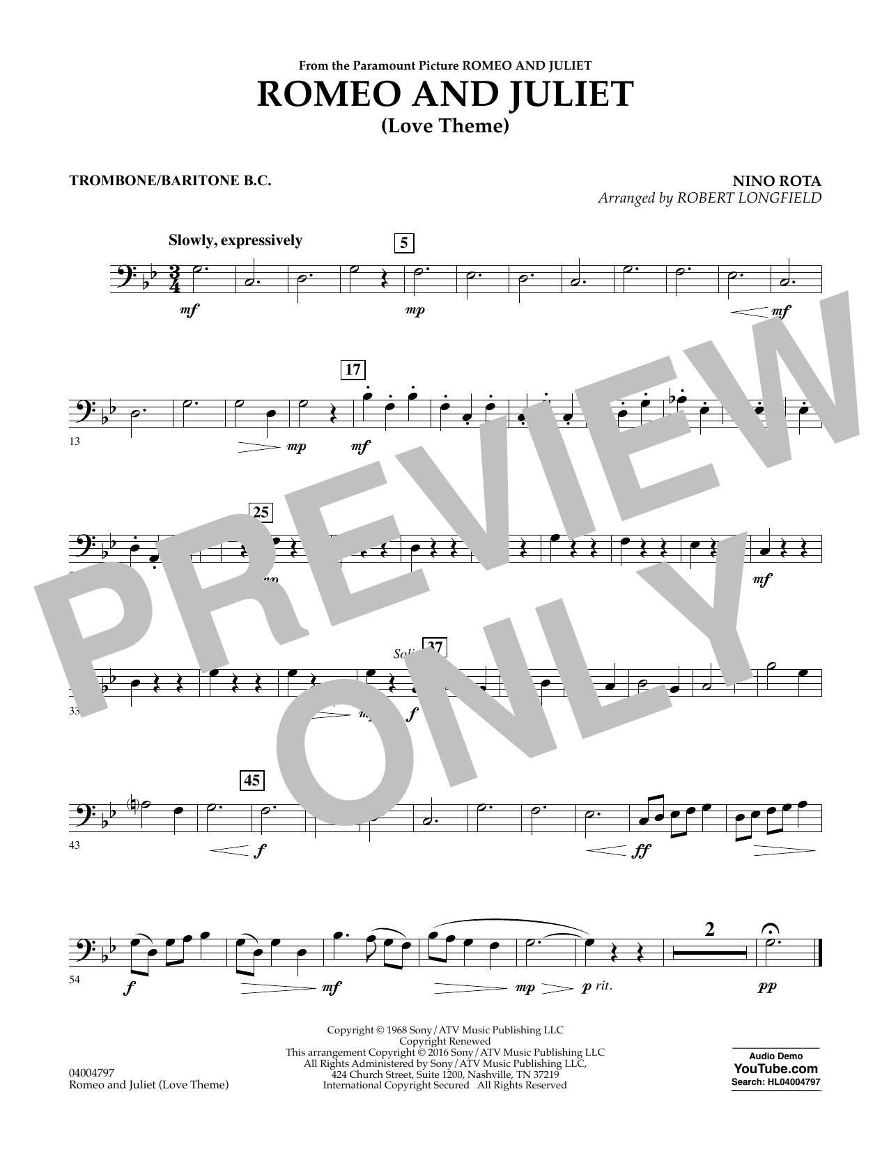 Romeo and Juliet (Love Theme) - Trombone/Baritone B.C. (Concert Band)