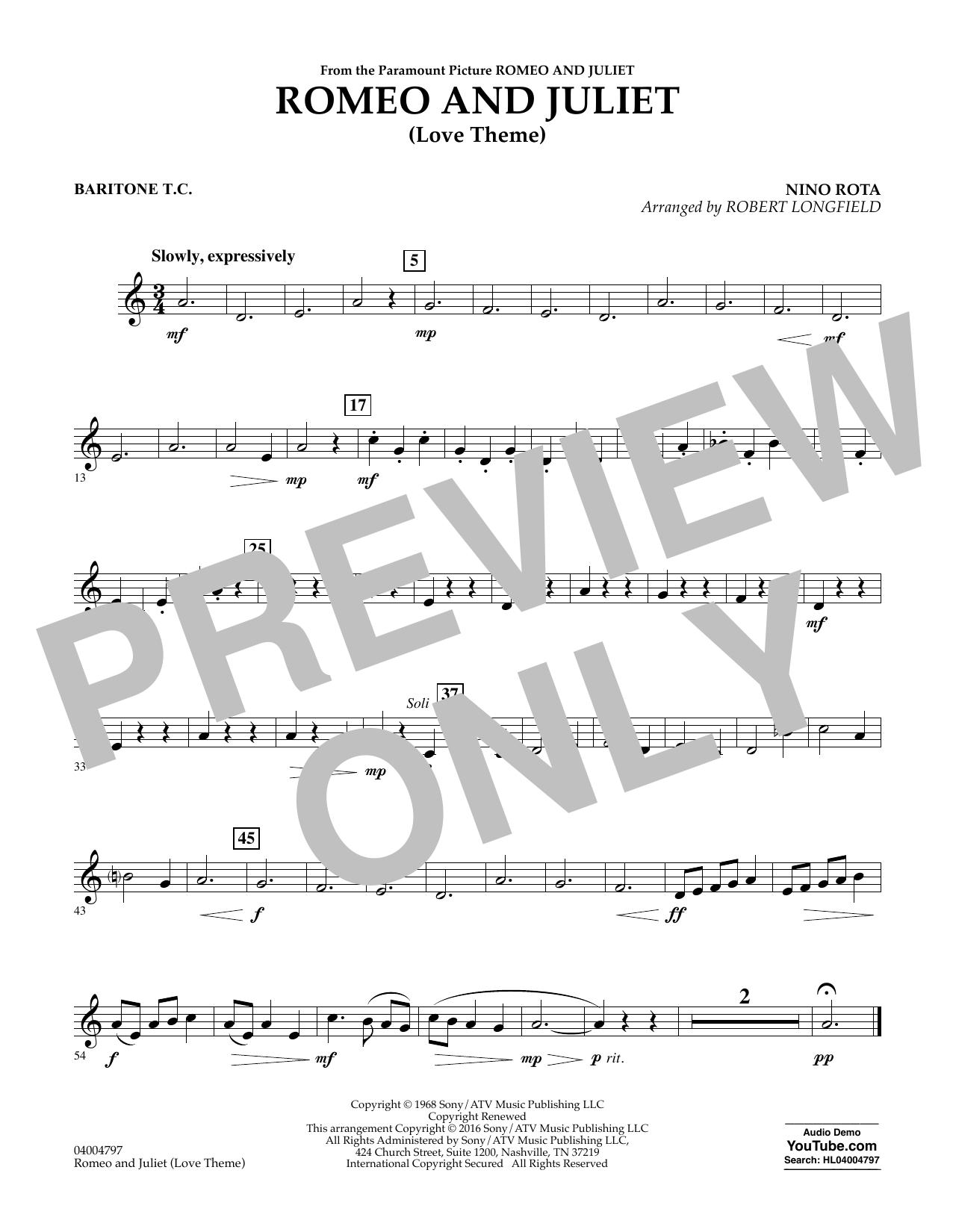 Romeo and Juliet (Love Theme) - Baritone T.C. (Concert Band)
