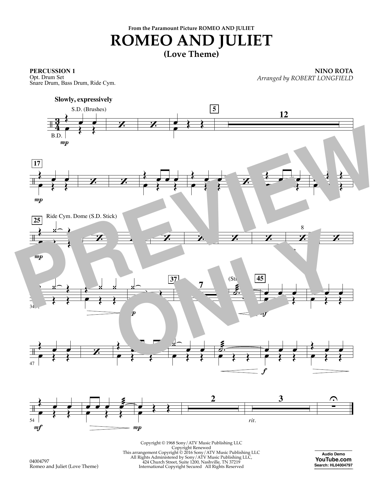 Romeo and Juliet (Love Theme) - Percussion 1 (Concert Band)