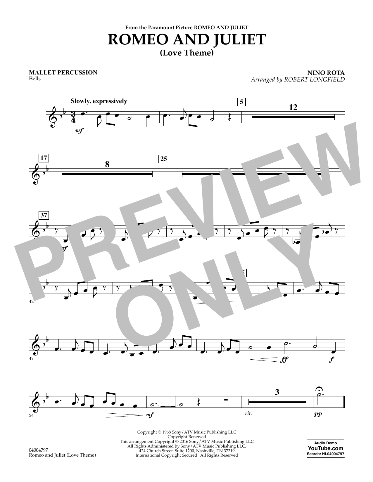 Romeo and Juliet (Love Theme) - Mallet Percussion (Concert Band)