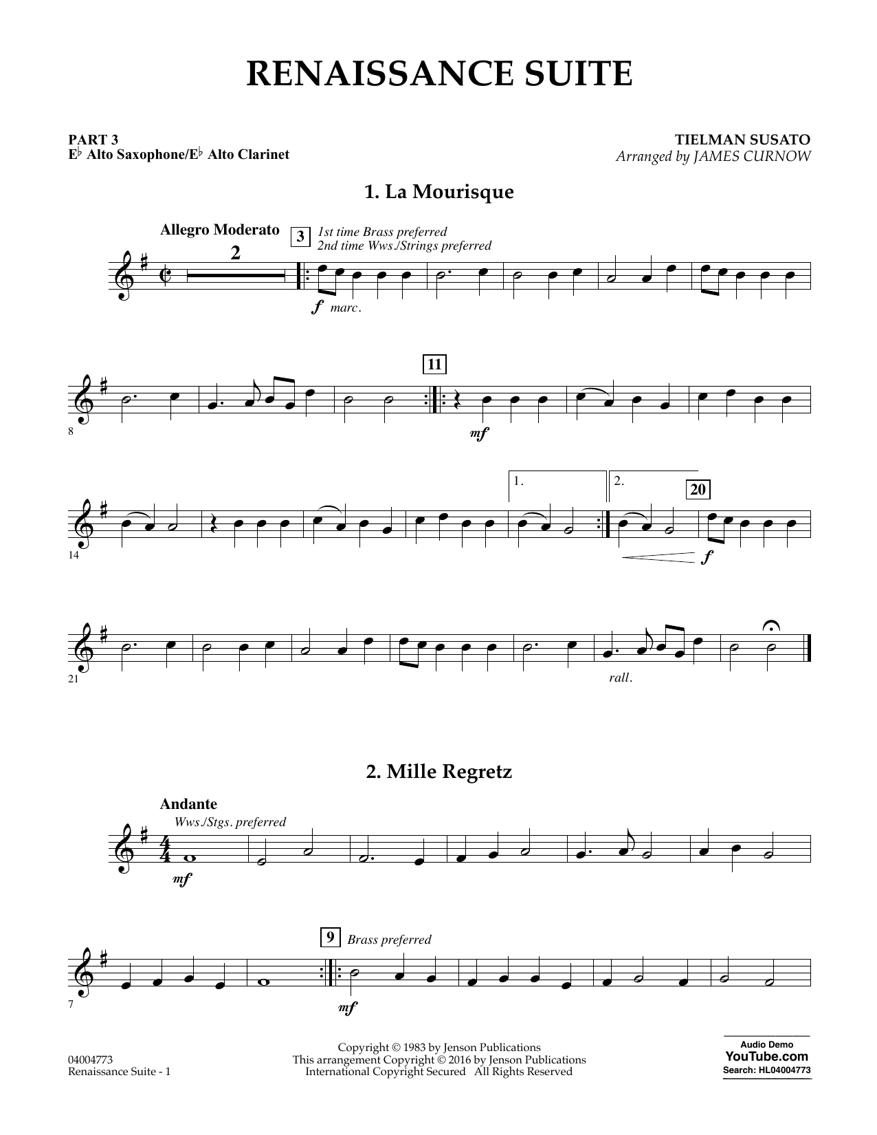 Renaissance Suite - Pt.3 - Eb Alto Sax/Alto Clar. (Flex-Band)