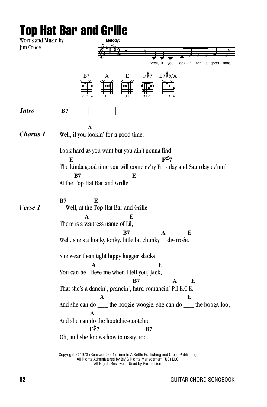 Top Hat Bar And Grille (Guitar Chords/Lyrics)
