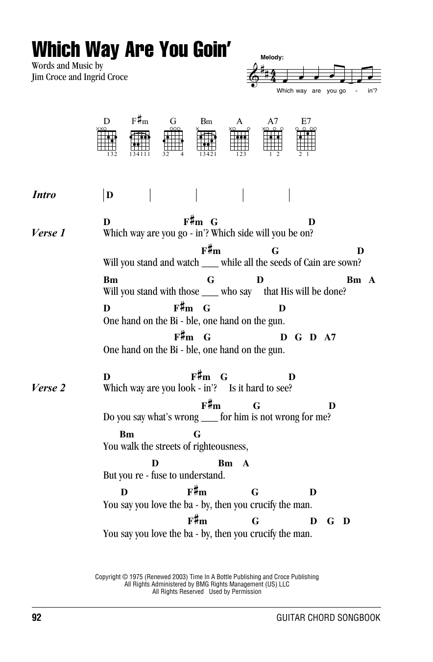 Which Way Are You Goin' Sheet Music