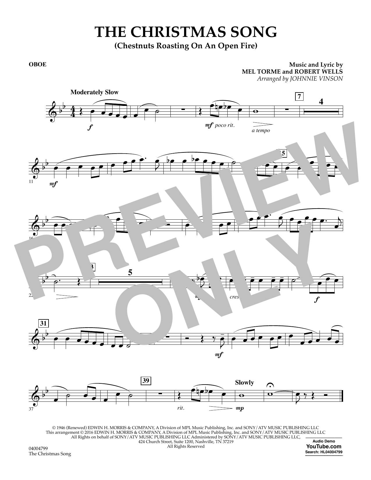 The Christmas Song (Chestnuts Roasting on an Open Fire) - Oboe (Concert Band)