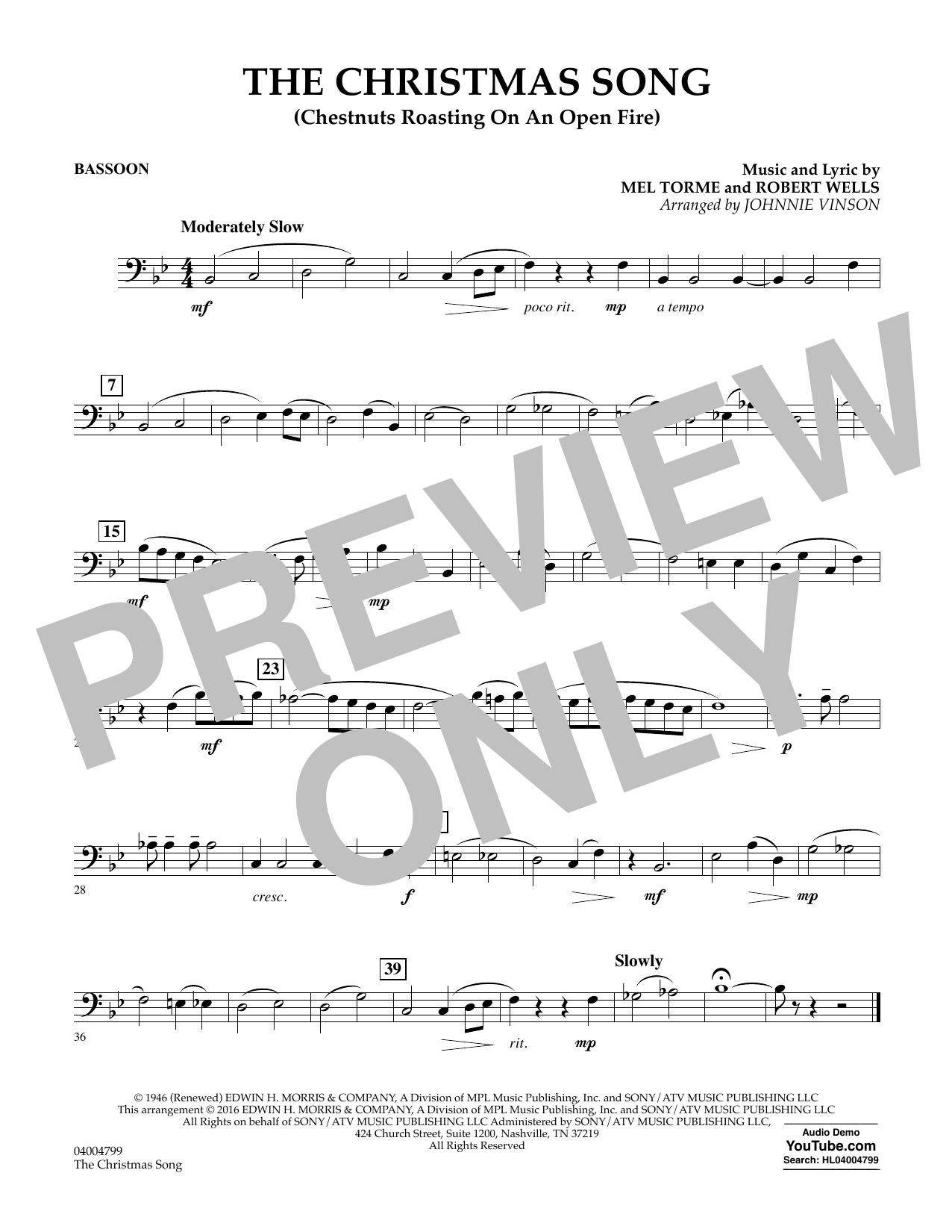 The Christmas Song (Chestnuts Roasting on an Open Fire) - Bassoon (Concert Band)