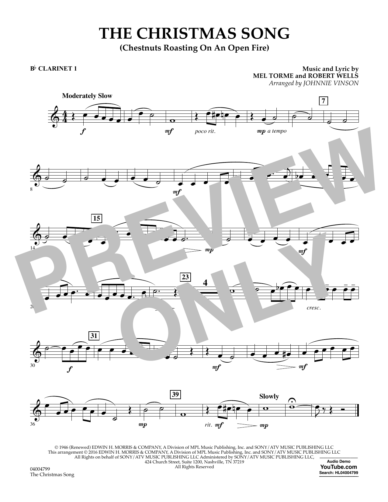 The Christmas Song (Chestnuts Roasting on an Open Fire) - Bb Clarinet 1 (Concert Band)