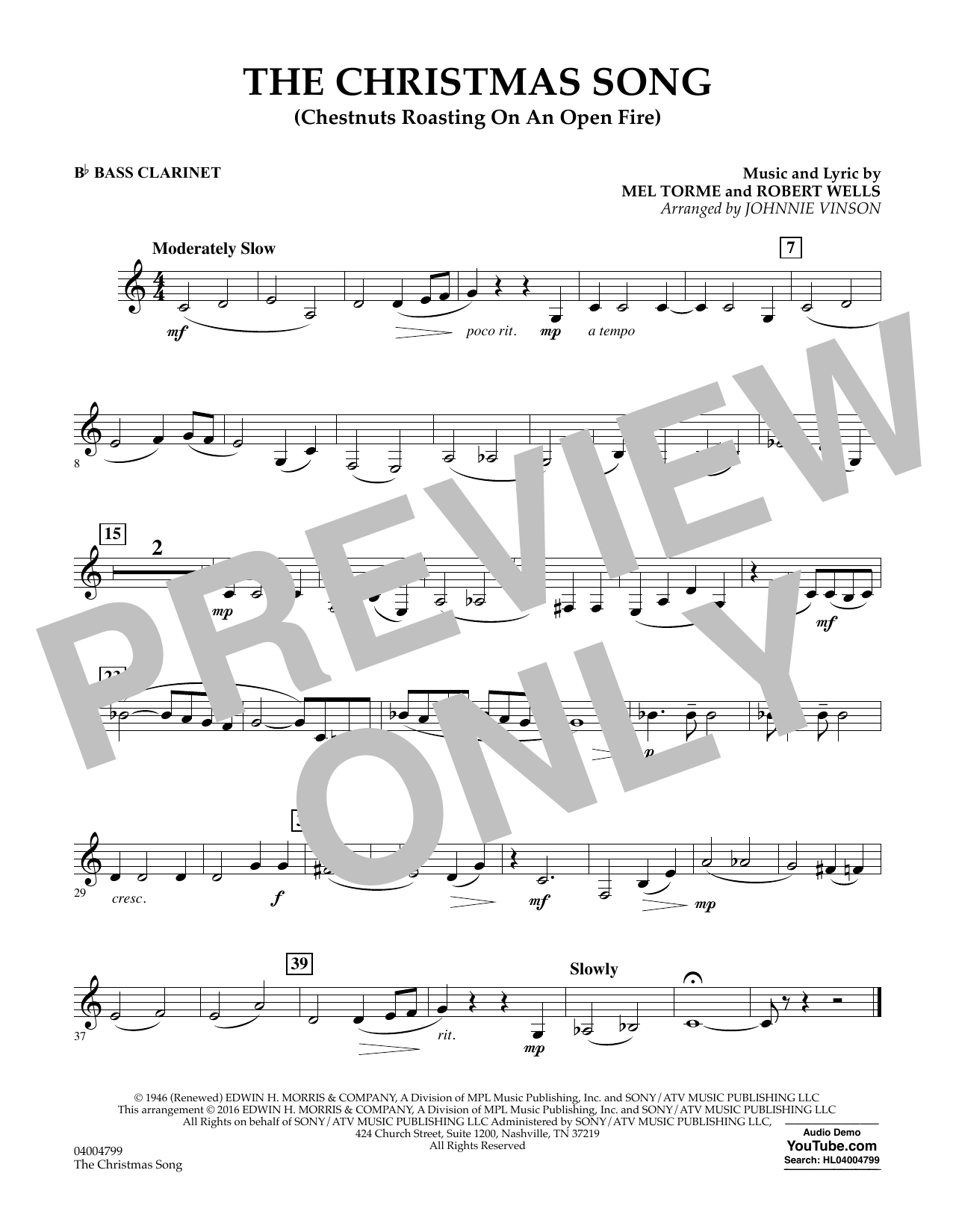 The Christmas Song (Chestnuts Roasting on an Open Fire) - Bb Bass Clarinet (Concert Band)