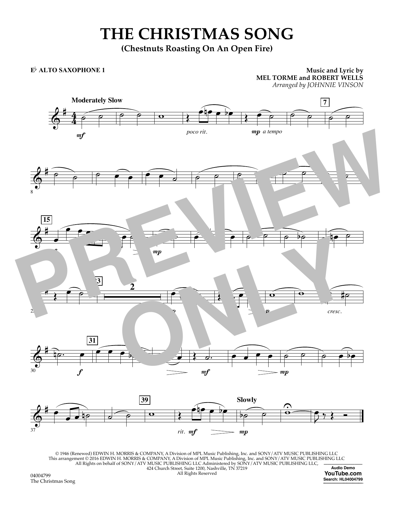 The Christmas Song (Chestnuts Roasting on an Open Fire) - Eb Alto Saxophone 1 (Concert Band)