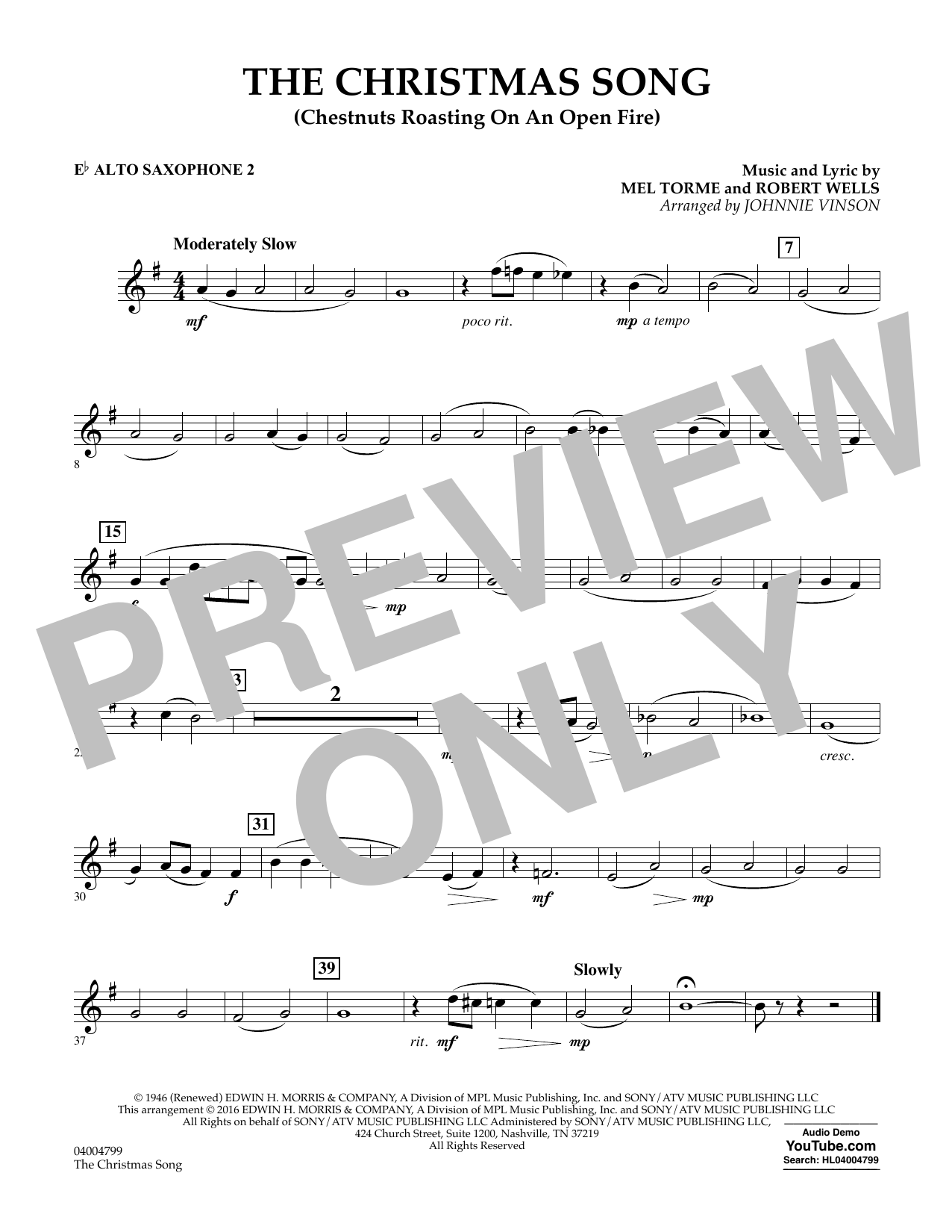 The Christmas Song (Chestnuts Roasting on an Open Fire) - Eb Alto Saxophone 2 (Concert Band)
