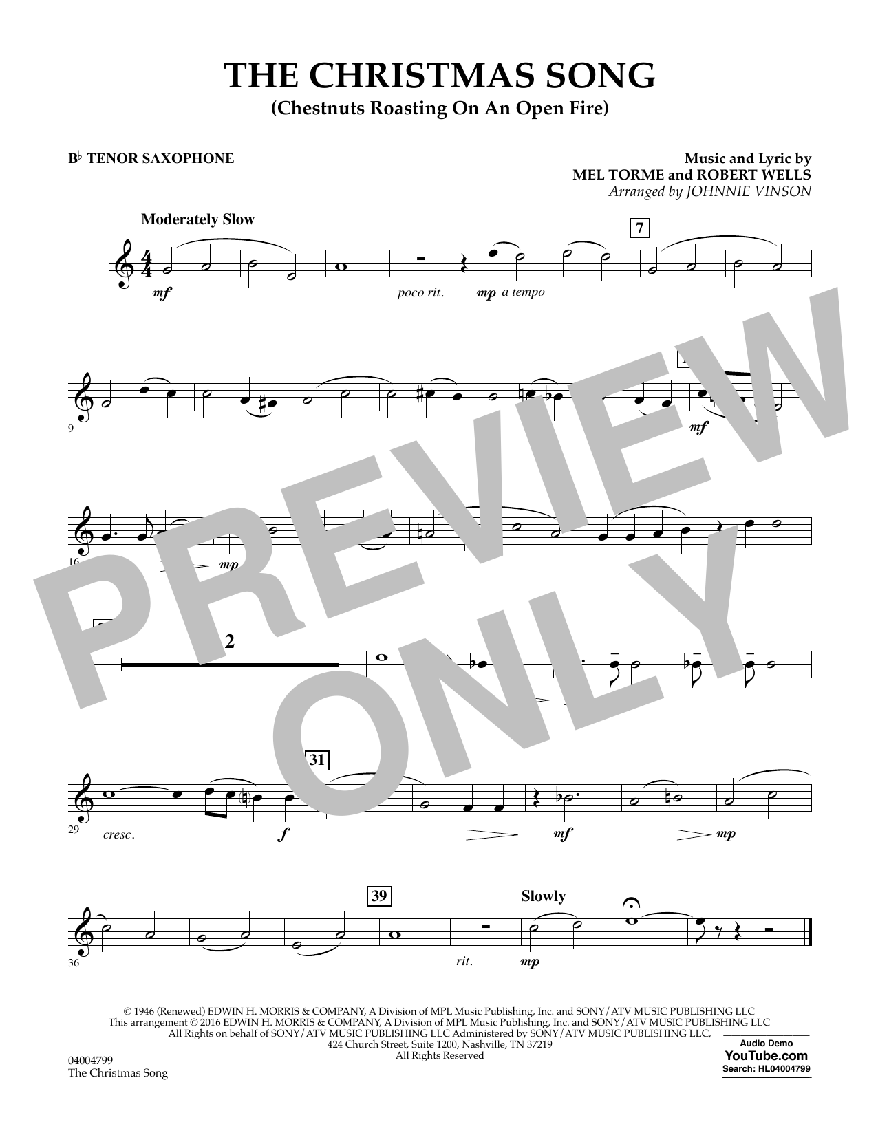 The Christmas Song (Chestnuts Roasting on an Open Fire) - Bb Tenor Saxophone (Concert Band)