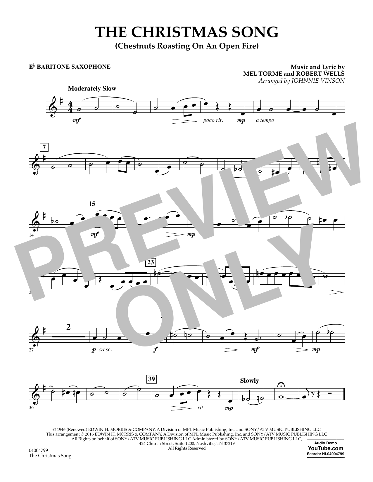 The Christmas Song (Chestnuts Roasting on an Open Fire) - Eb Baritone Saxophone (Concert Band)