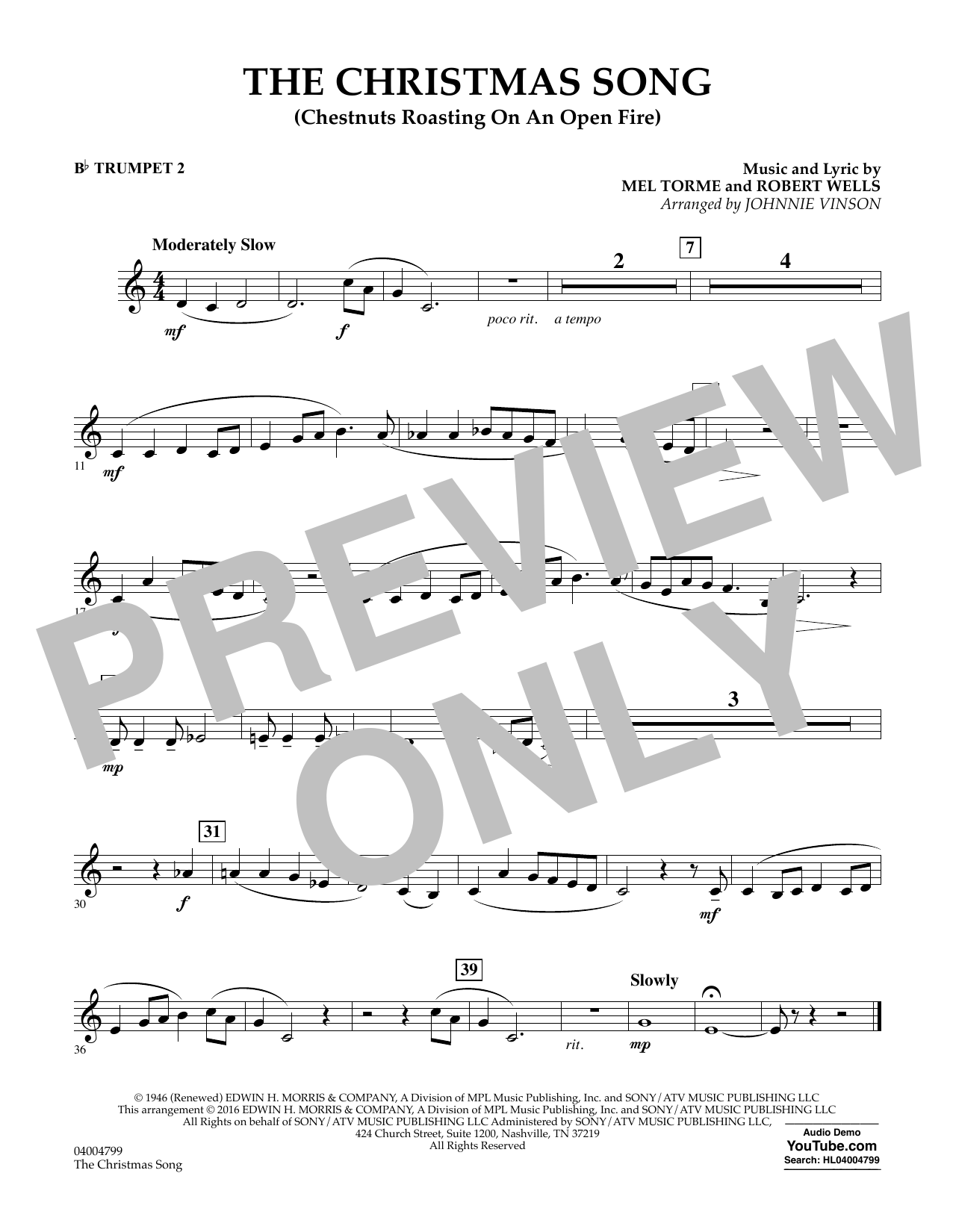 The Christmas Song (Chestnuts Roasting on an Open Fire) - Bb Trumpet 2 (Concert Band)