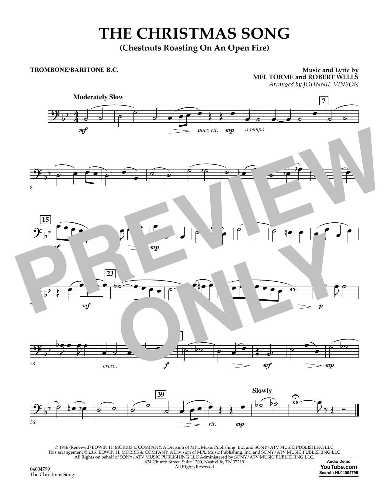 The Christmas Song (Chestnuts Roasting on an Open Fire) - Trombone/Baritone B.C. (Concert Band)