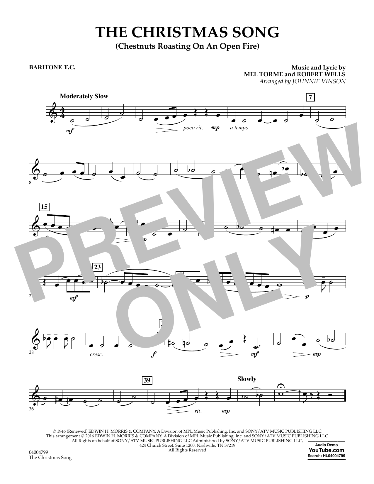The Christmas Song (Chestnuts Roasting on an Open Fire) - Baritone T.C. (Concert Band)