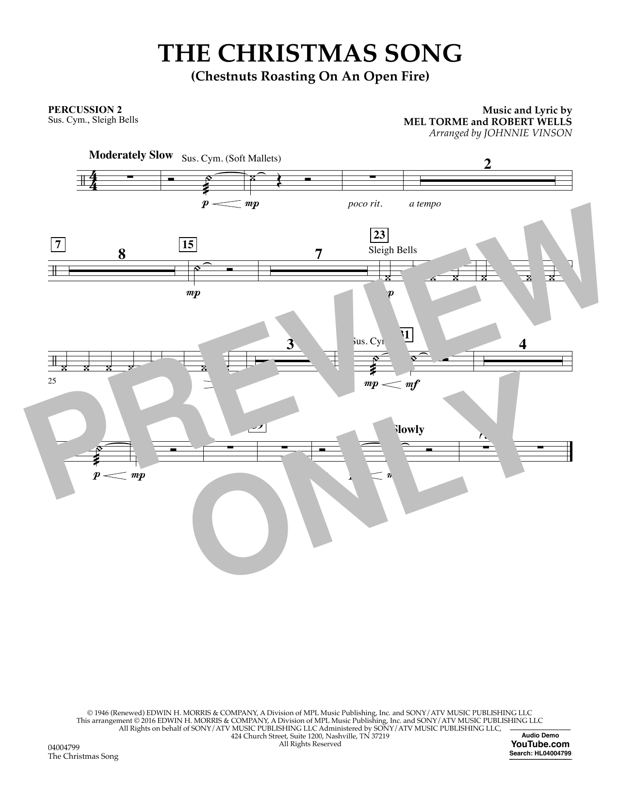The Christmas Song (Chestnuts Roasting on an Open Fire) - Percussion 2 (Concert Band)