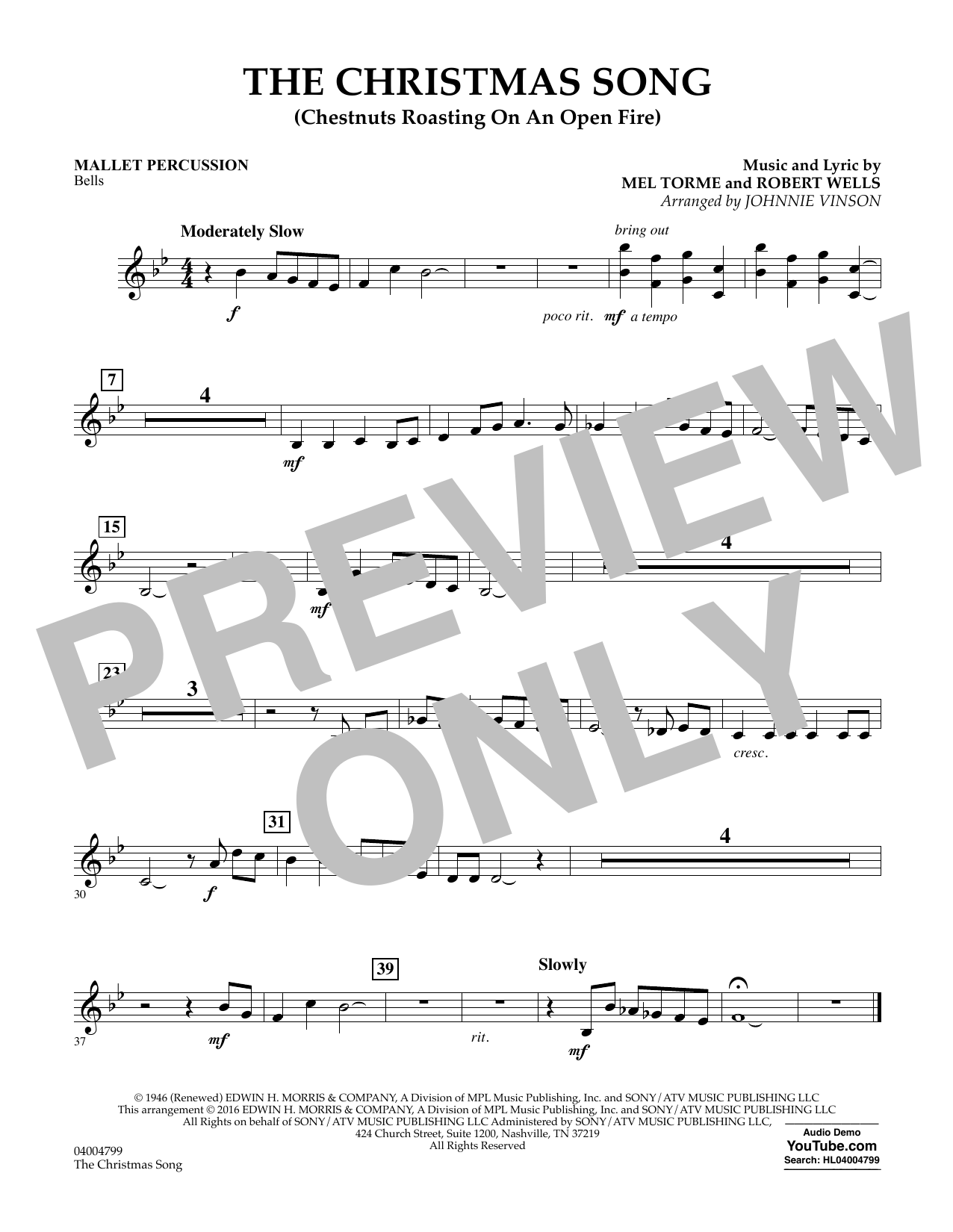 The Christmas Song (Chestnuts Roasting on an Open Fire) - Mallet Percussion (Concert Band)