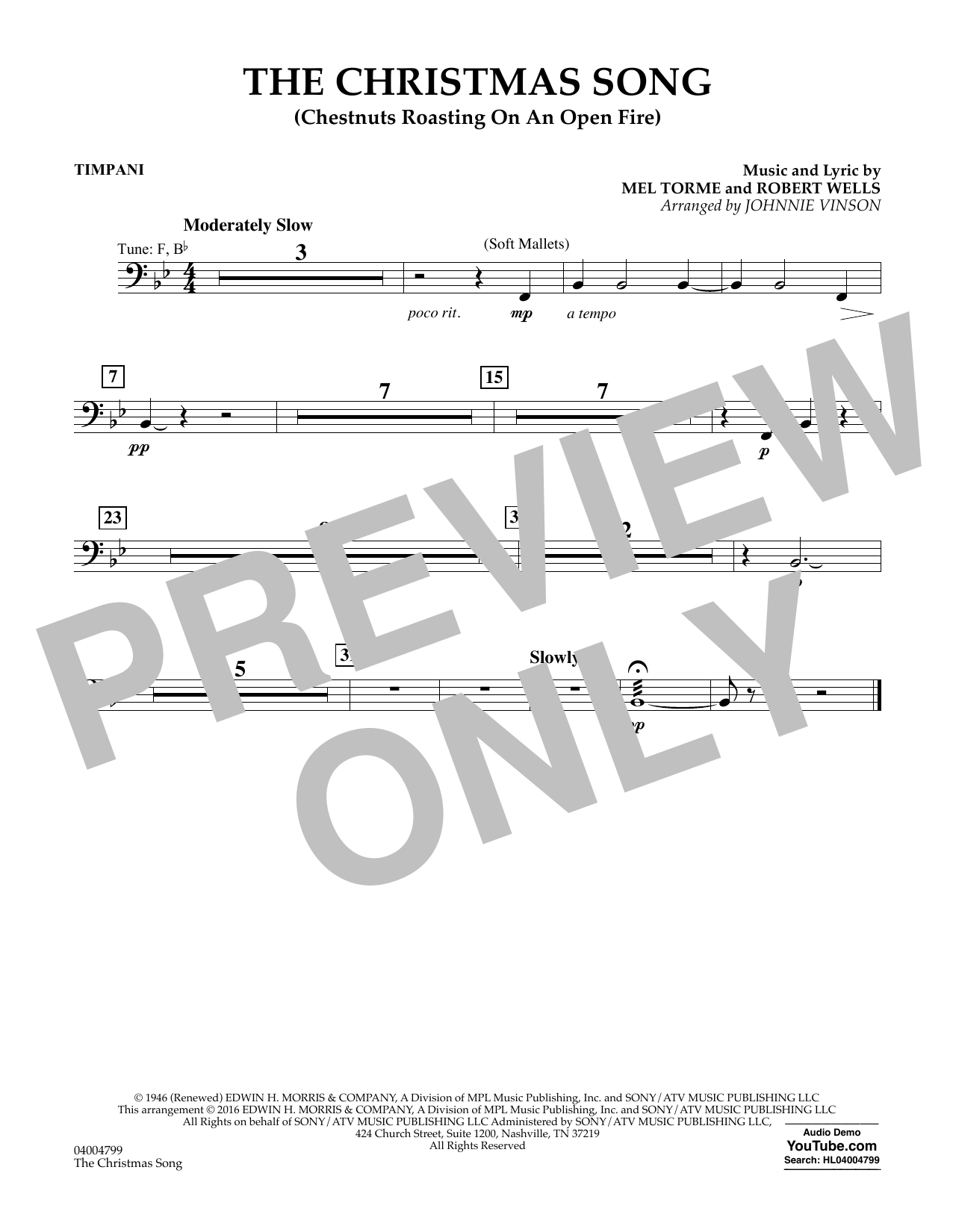 The Christmas Song (Chestnuts Roasting on an Open Fire) - Timpani (Concert Band)