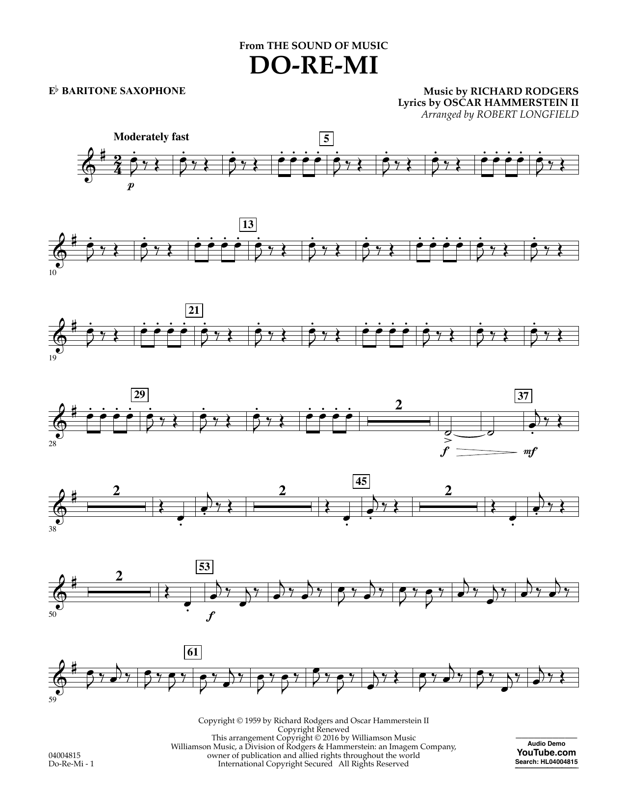 Do-Re-Mi (from The Sound of Music) - Eb Baritone Saxophone (Concert Band)