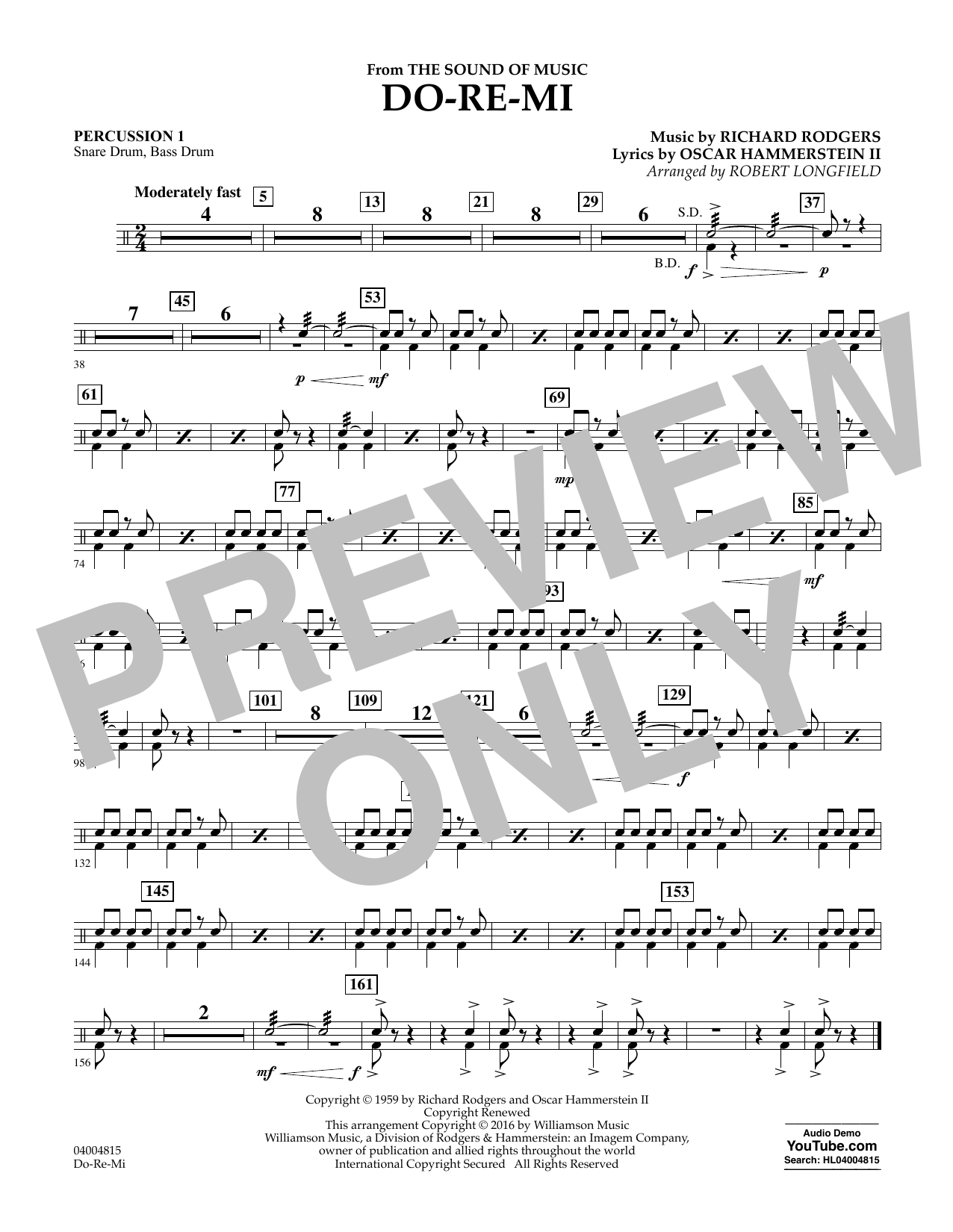 Do-Re-Mi (from The Sound of Music) - Percussion 1 (Concert Band)