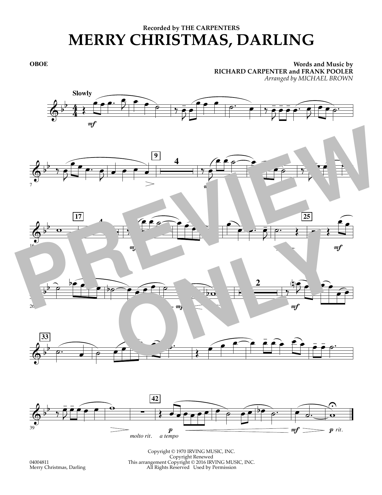 Merry Christmas, Darling - Oboe (Concert Band)