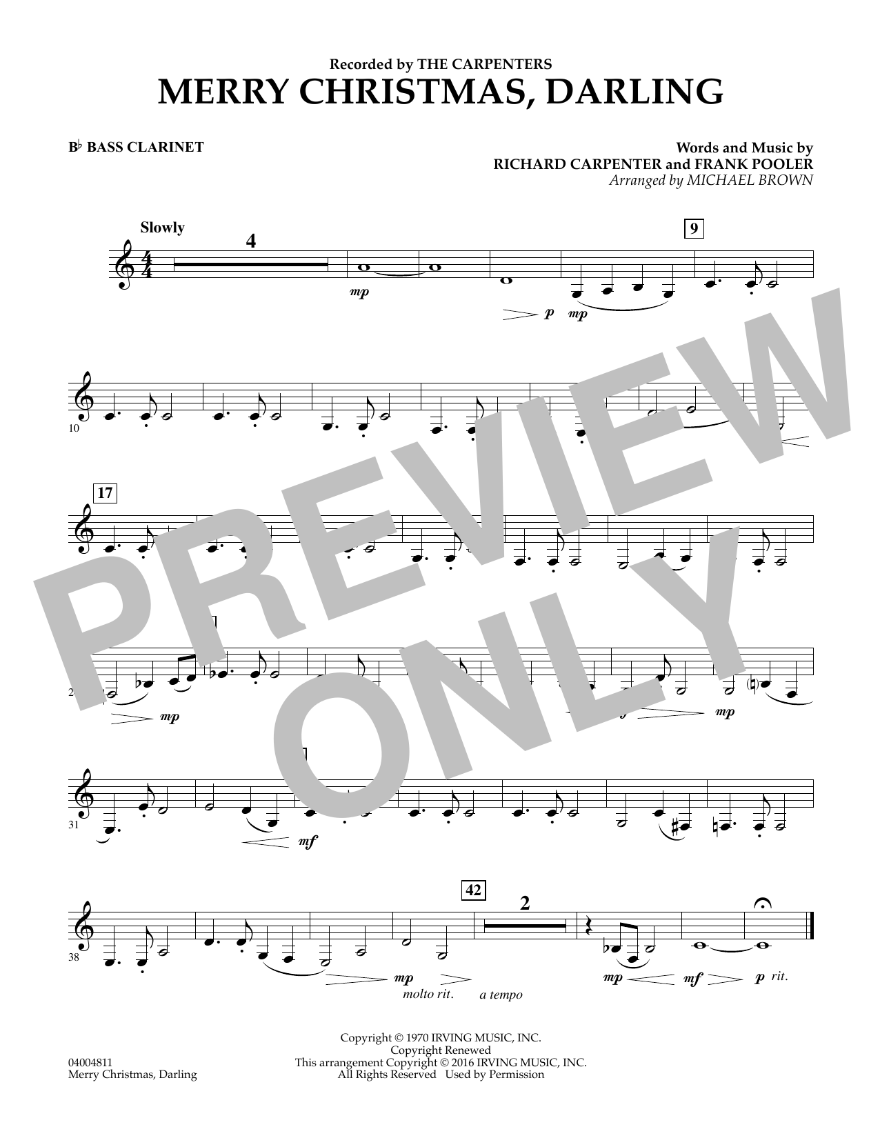 Merry Christmas, Darling - Bb Bass Clarinet (Concert Band)