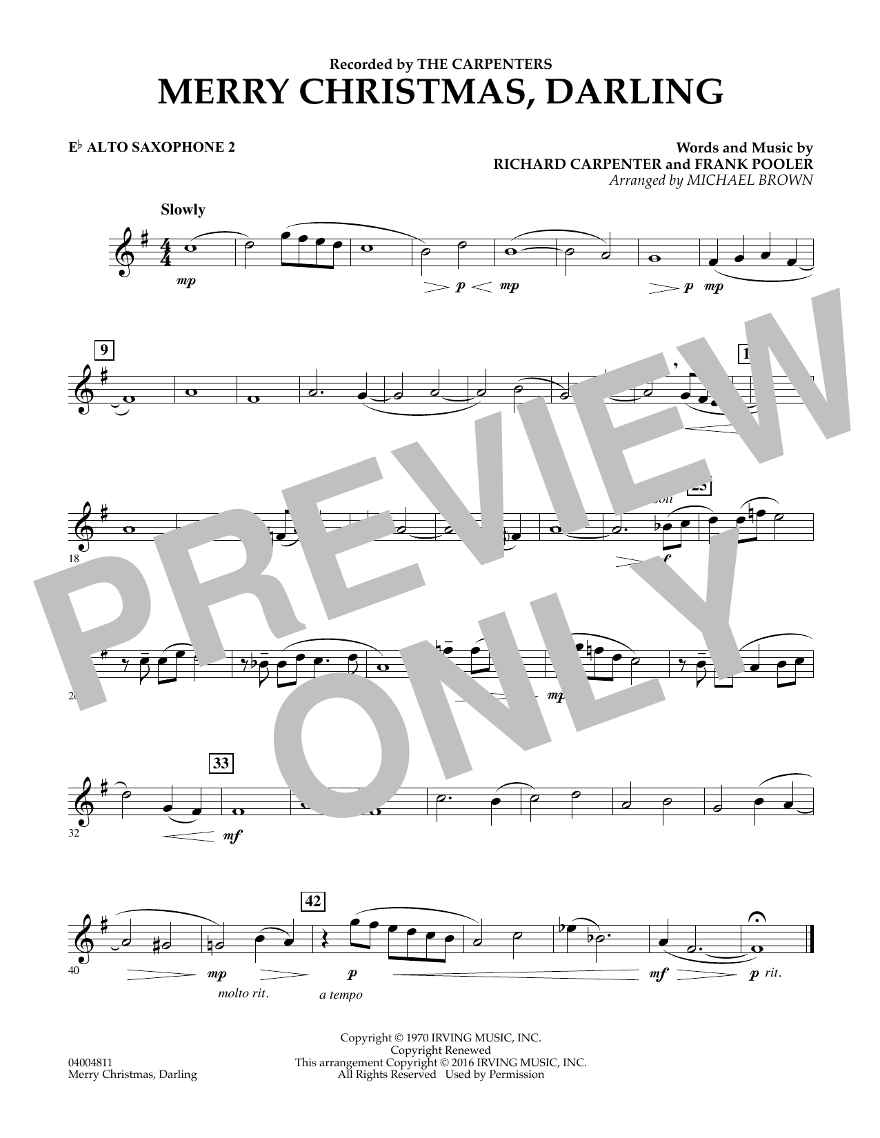 Merry Christmas, Darling - Eb Alto Saxophone 2 (Concert Band)