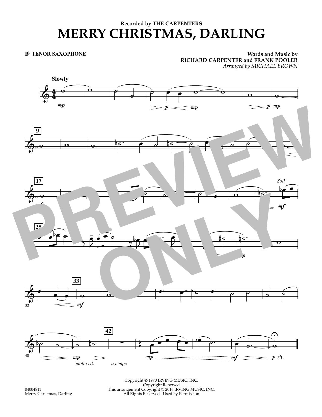Merry Christmas, Darling - Bb Tenor Saxophone (Concert Band)