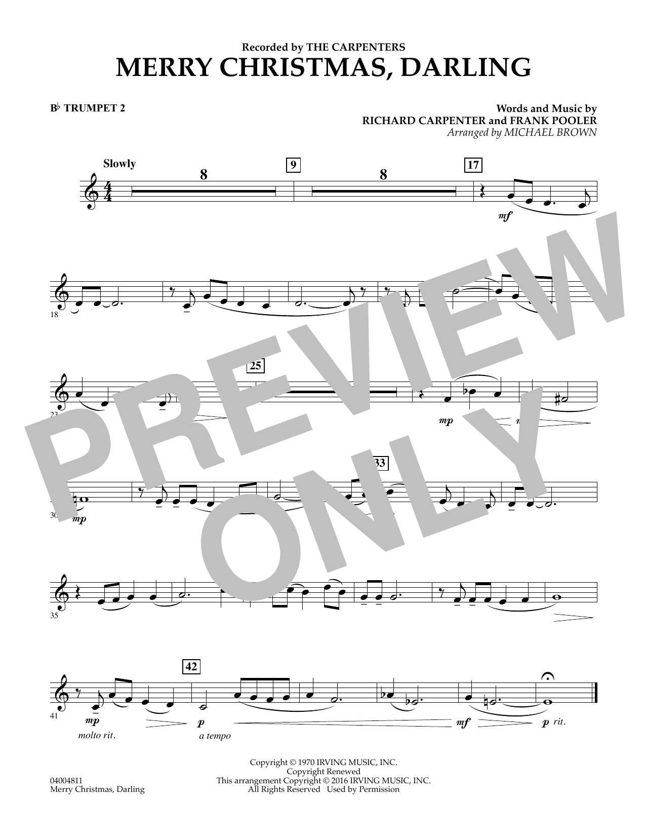 merry christmas darling bb trumpet 1 by frank pooler richard carpenter the carpenters