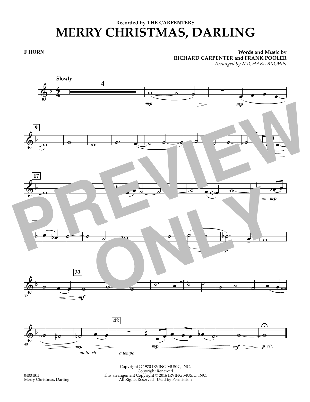 Merry Christmas, Darling - F Horn (Concert Band)