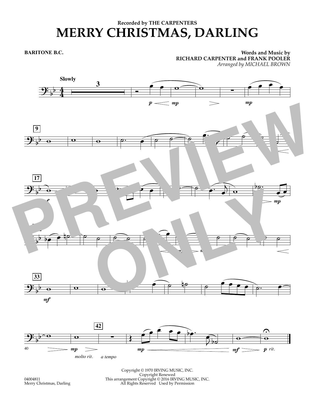 Merry Christmas, Darling - Baritone B.C. (Concert Band)