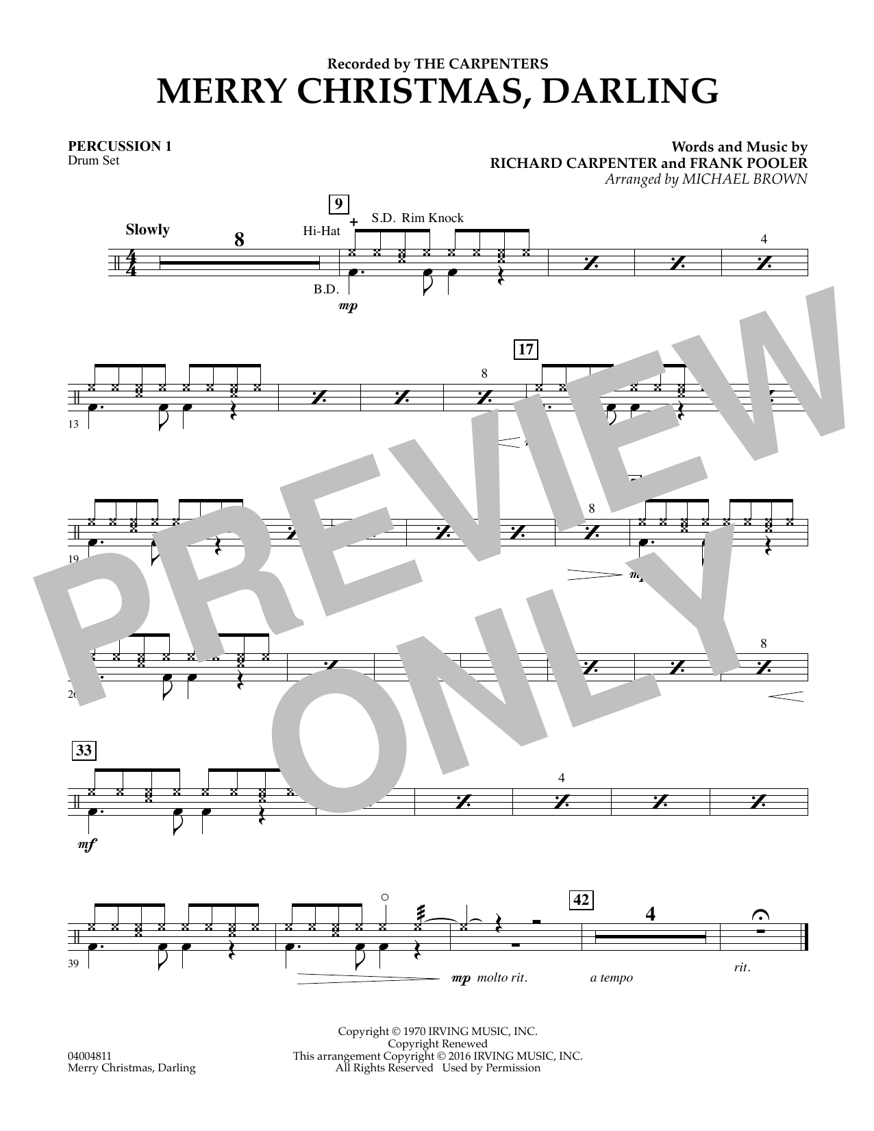 Merry Christmas, Darling - Percussion 1 (Concert Band)