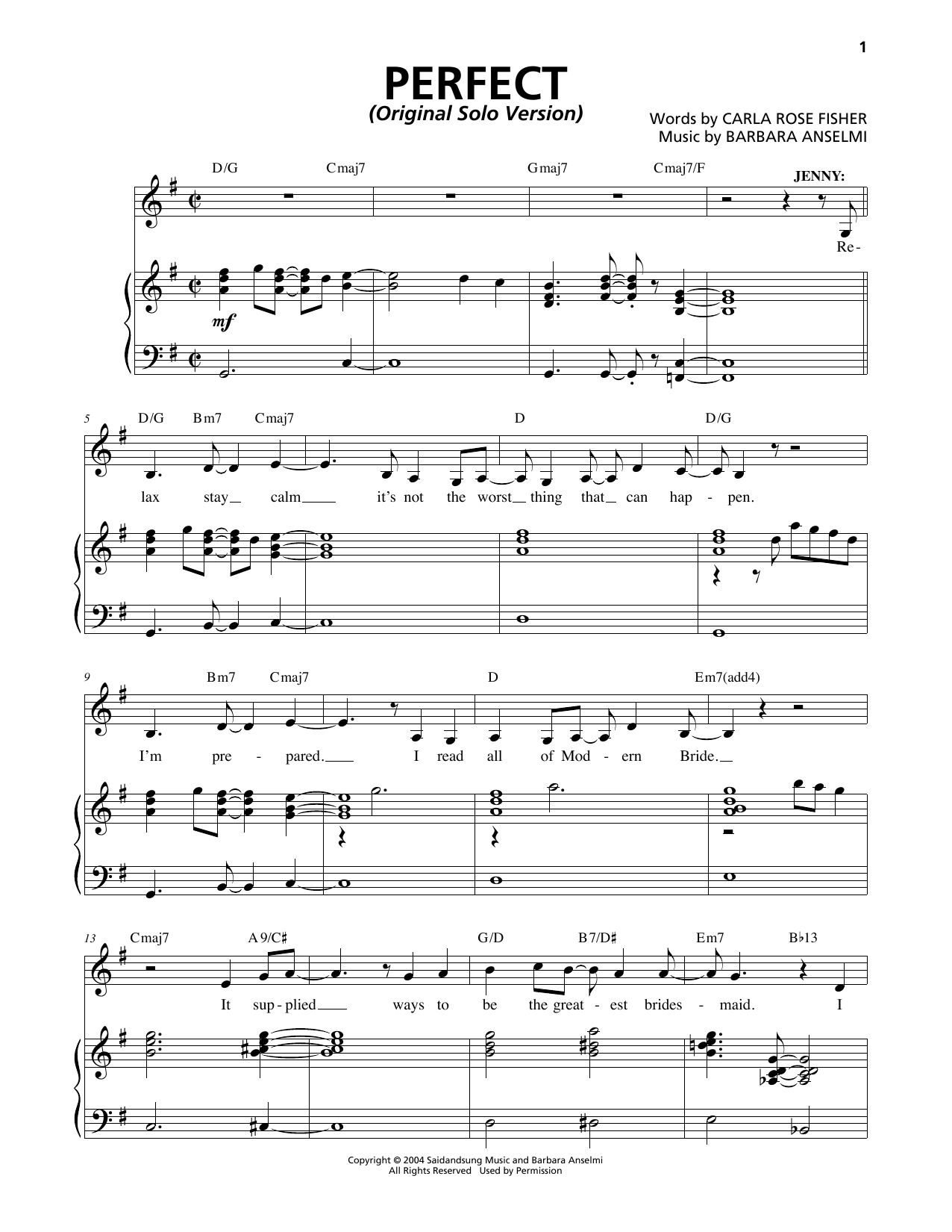 Perfect (Original Solo Version) Sheet Music