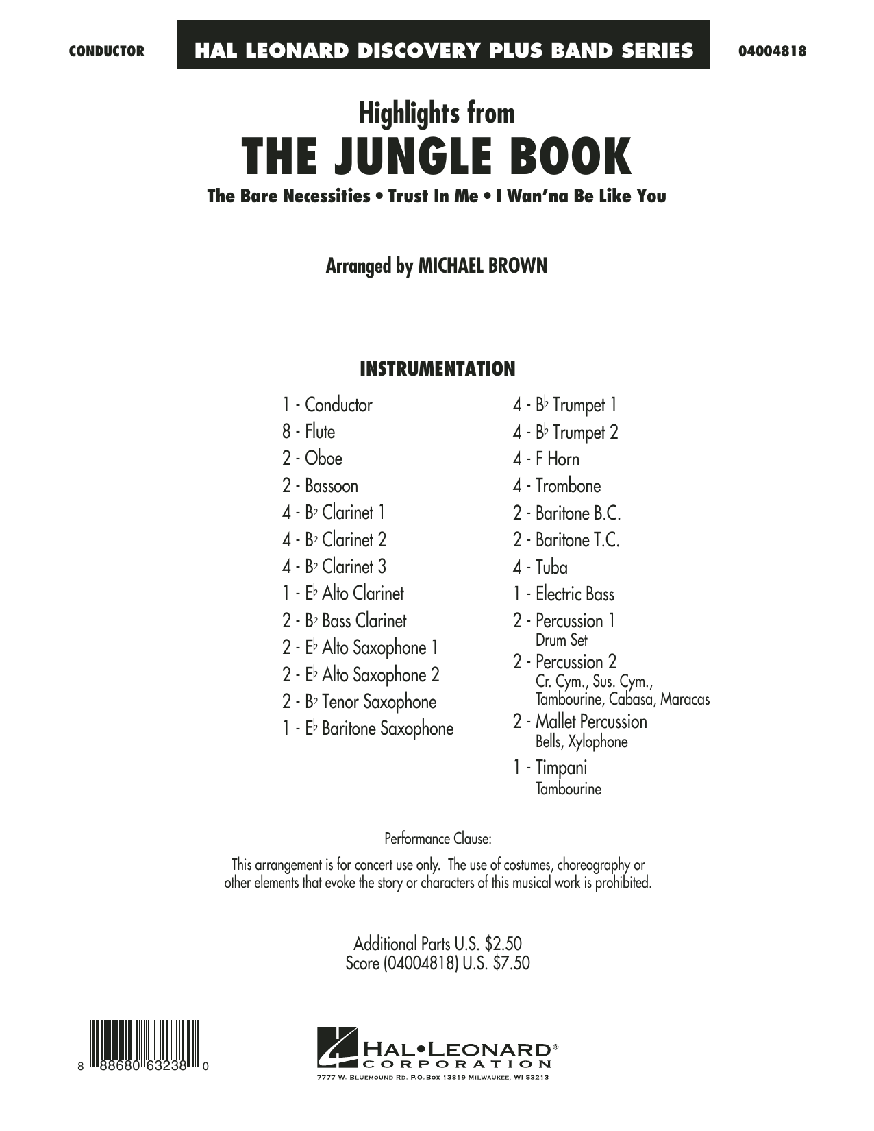 Highlights from The Jungle Book (COMPLETE) sheet music for concert band by Michael Brown. Score Image Preview.