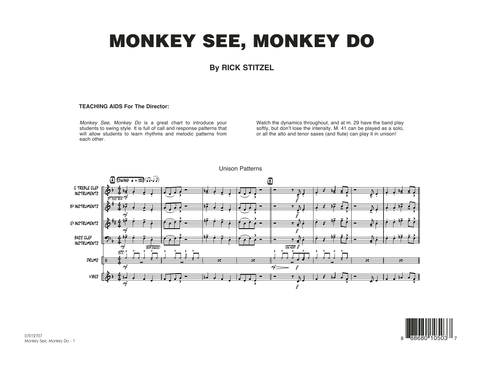 Monkey See, Monkey Do - Conductor Score (Full Score) (Jazz Ensemble)