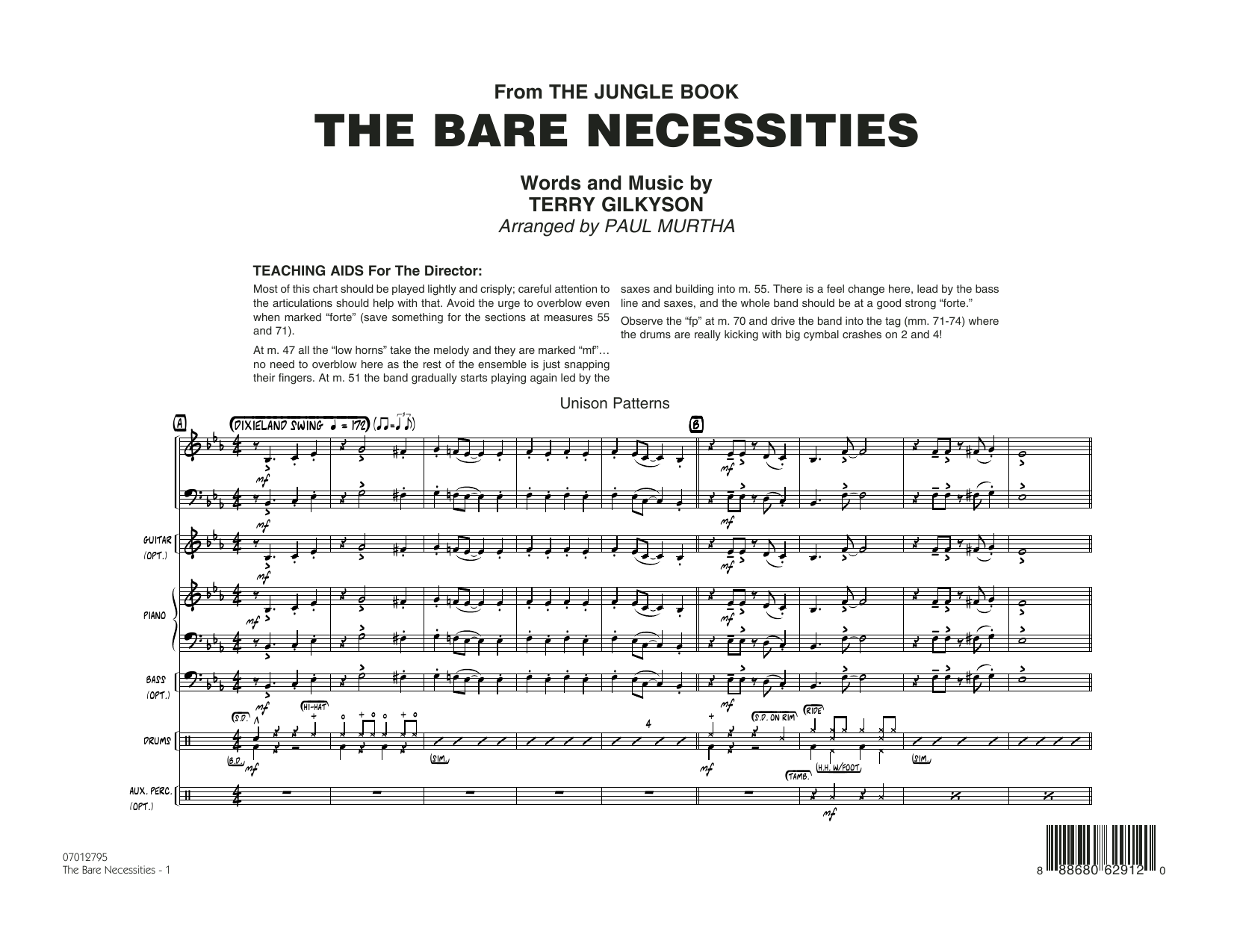 The Bare Necessities (from The Jungle Book) (COMPLETE) sheet music for jazz band by Paul Murtha and Terry Gilkyson. Score Image Preview.