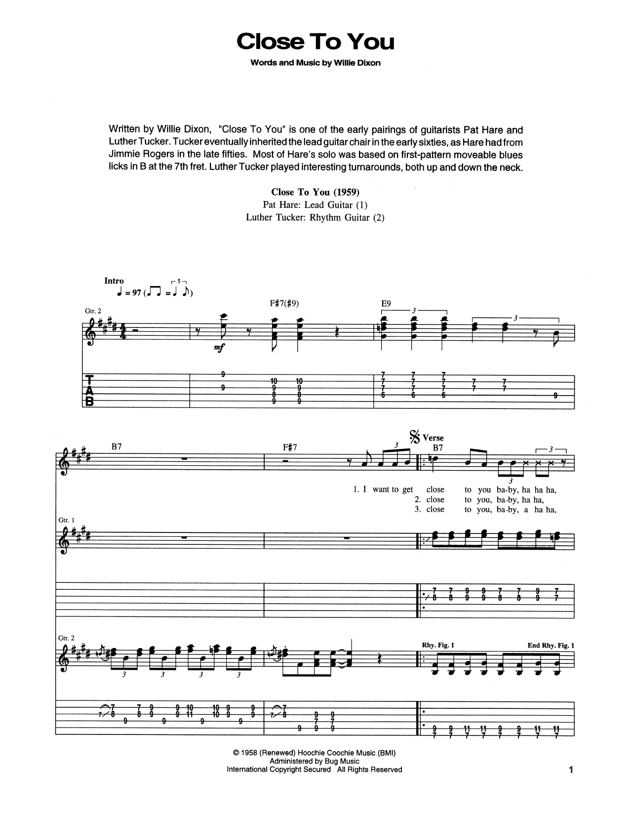 Close To You (I Wanna Get) Sheet Music