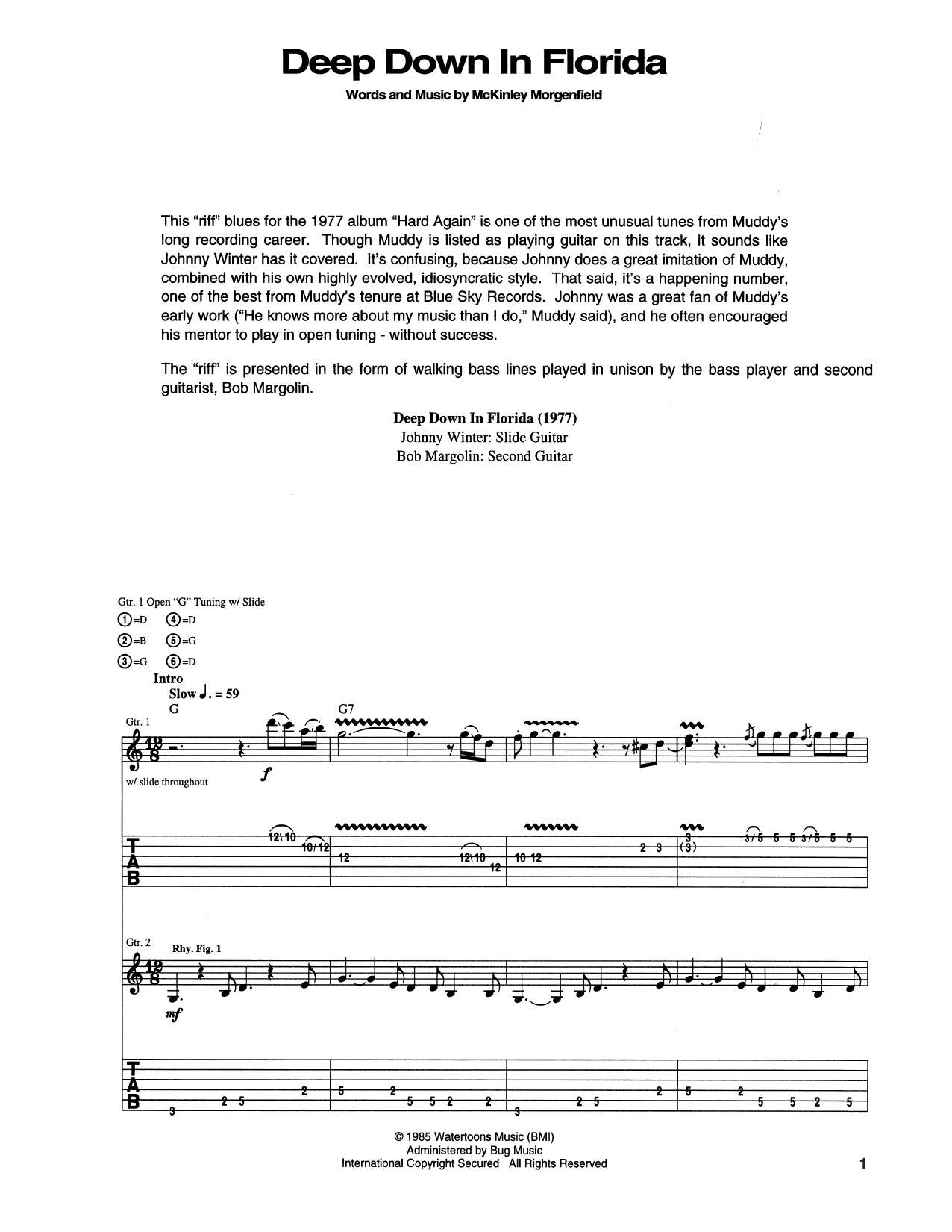 Deep Down In Florida Sheet Music
