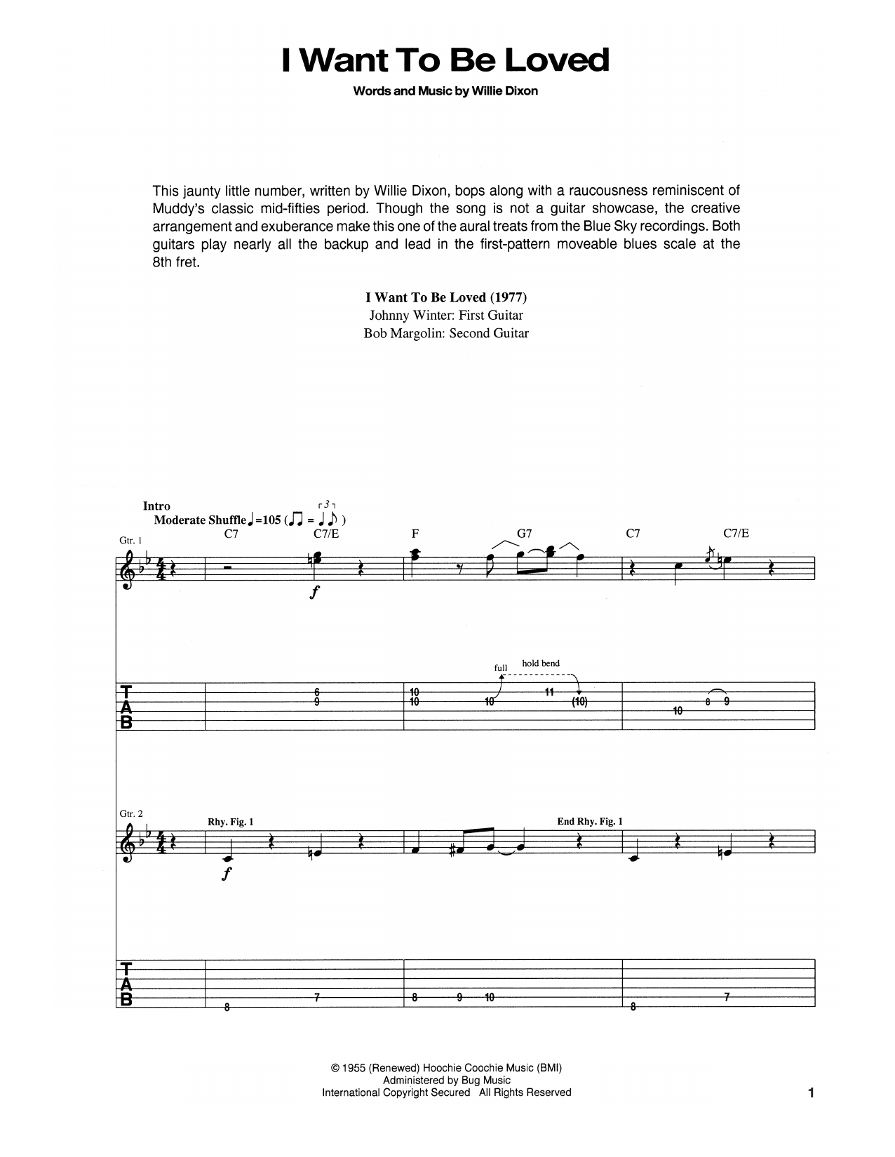 Tablature guitare I Want To Be Loved de Muddy Waters - Tablature Guitare