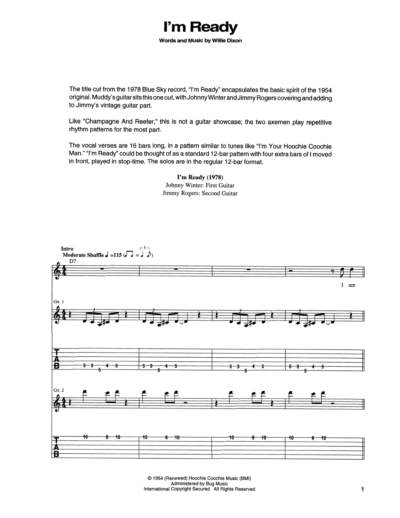 Tablature guitare I'm Ready de Muddy Waters - Tablature Guitare
