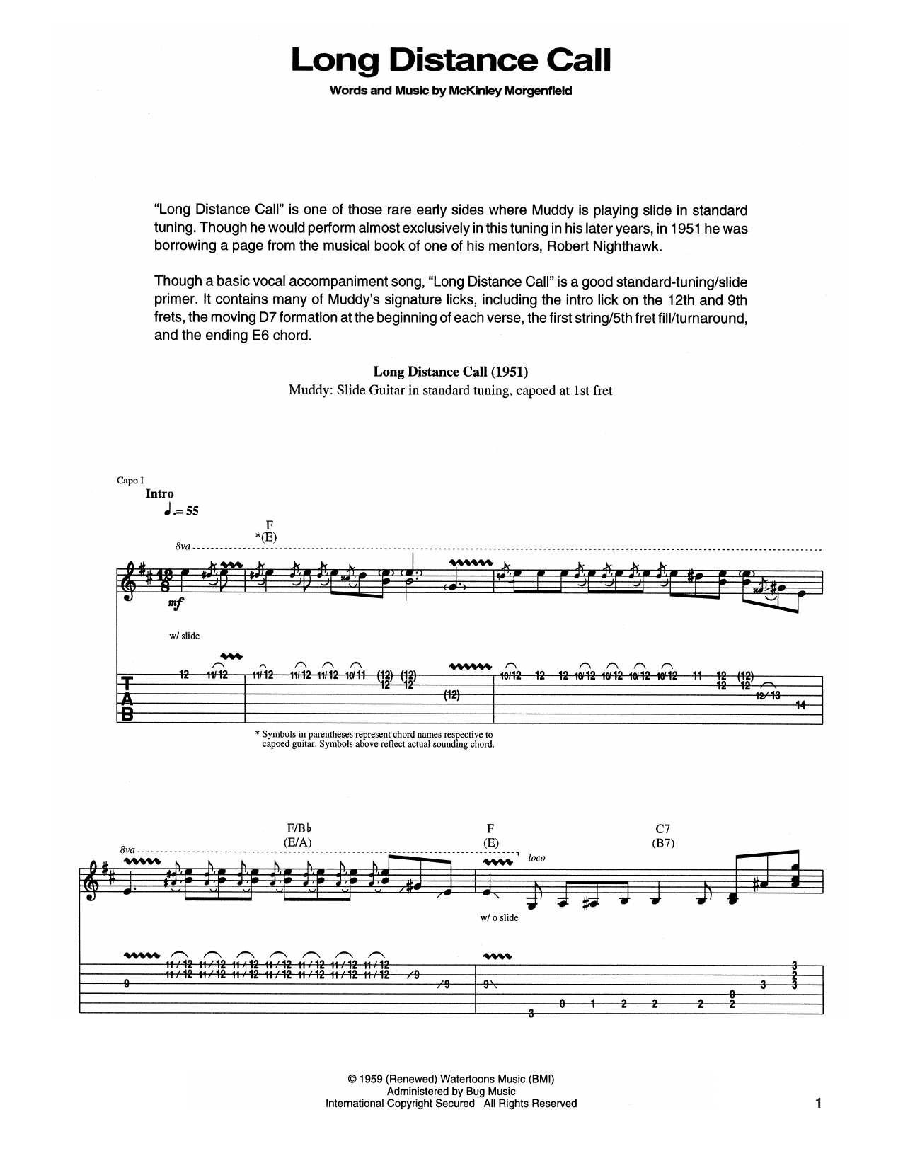Tablature guitare Long Distance Call de Muddy Waters - Tablature Guitare