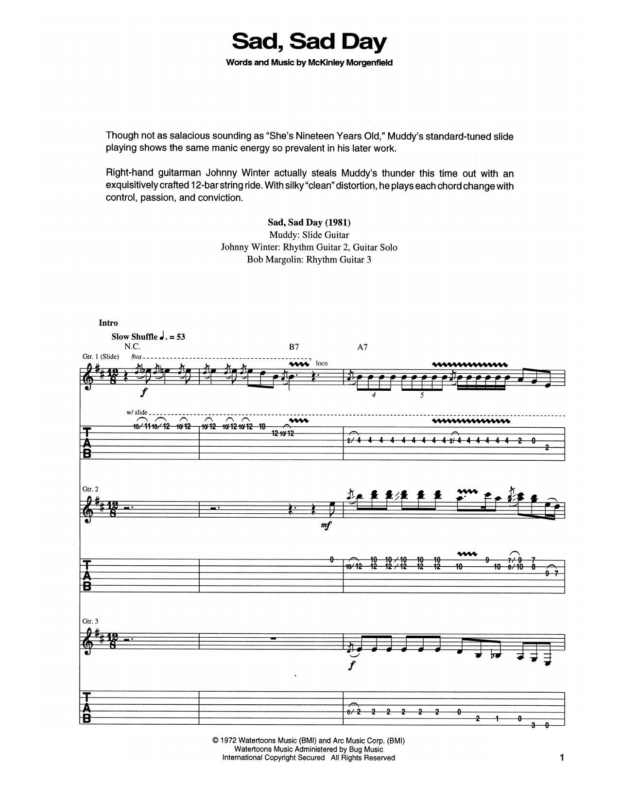 Sad, Sad Day Sheet Music