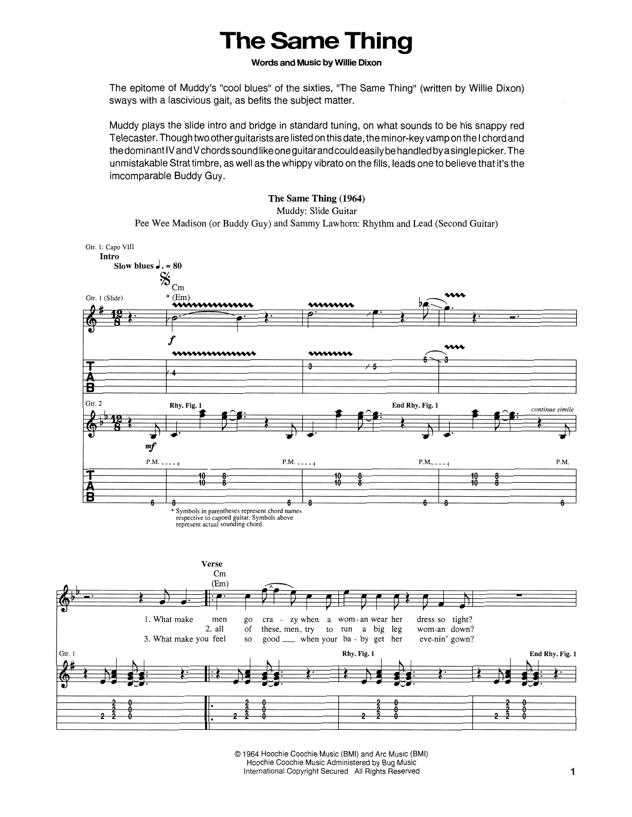 Tablature guitare The Same Thing de Muddy Waters - Tablature Guitare