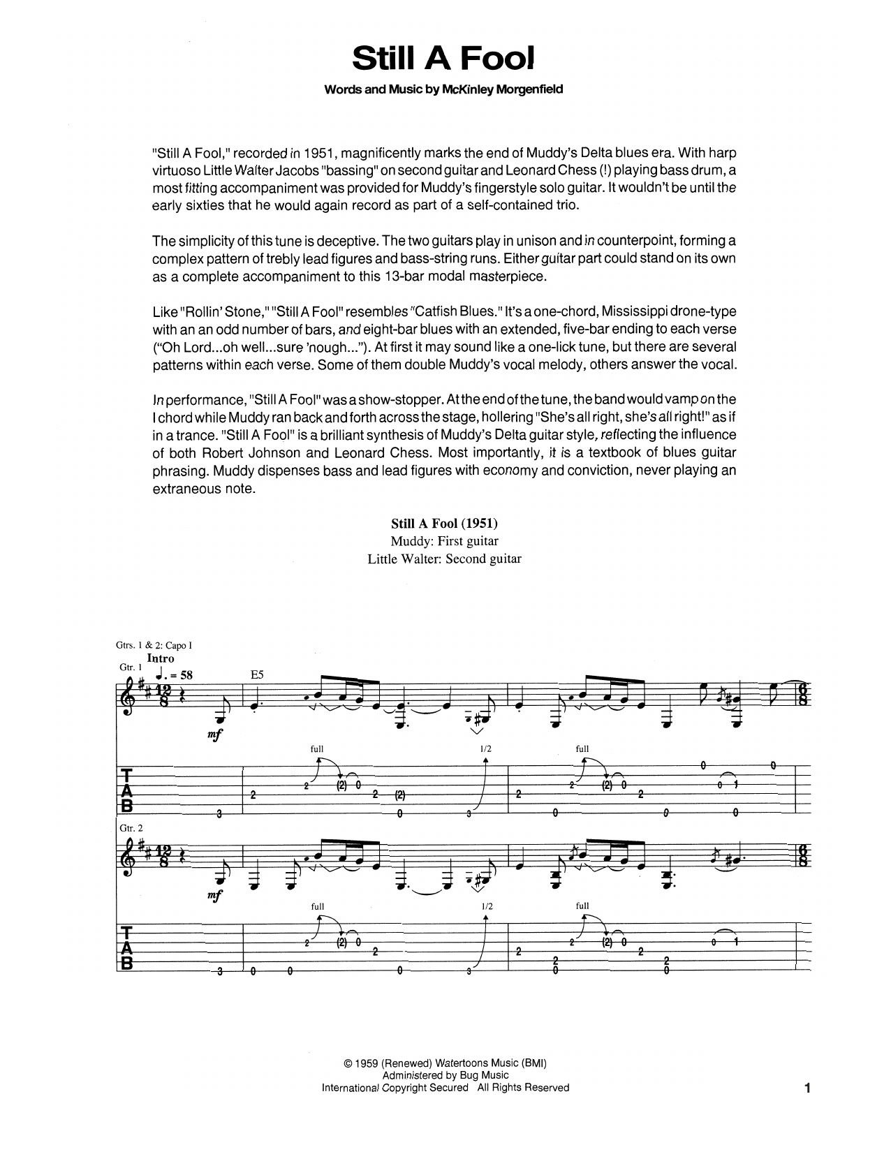 Still A Fool Sheet Music