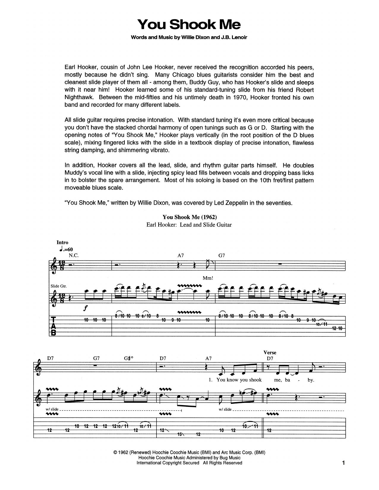 You Shook Me Sheet Music