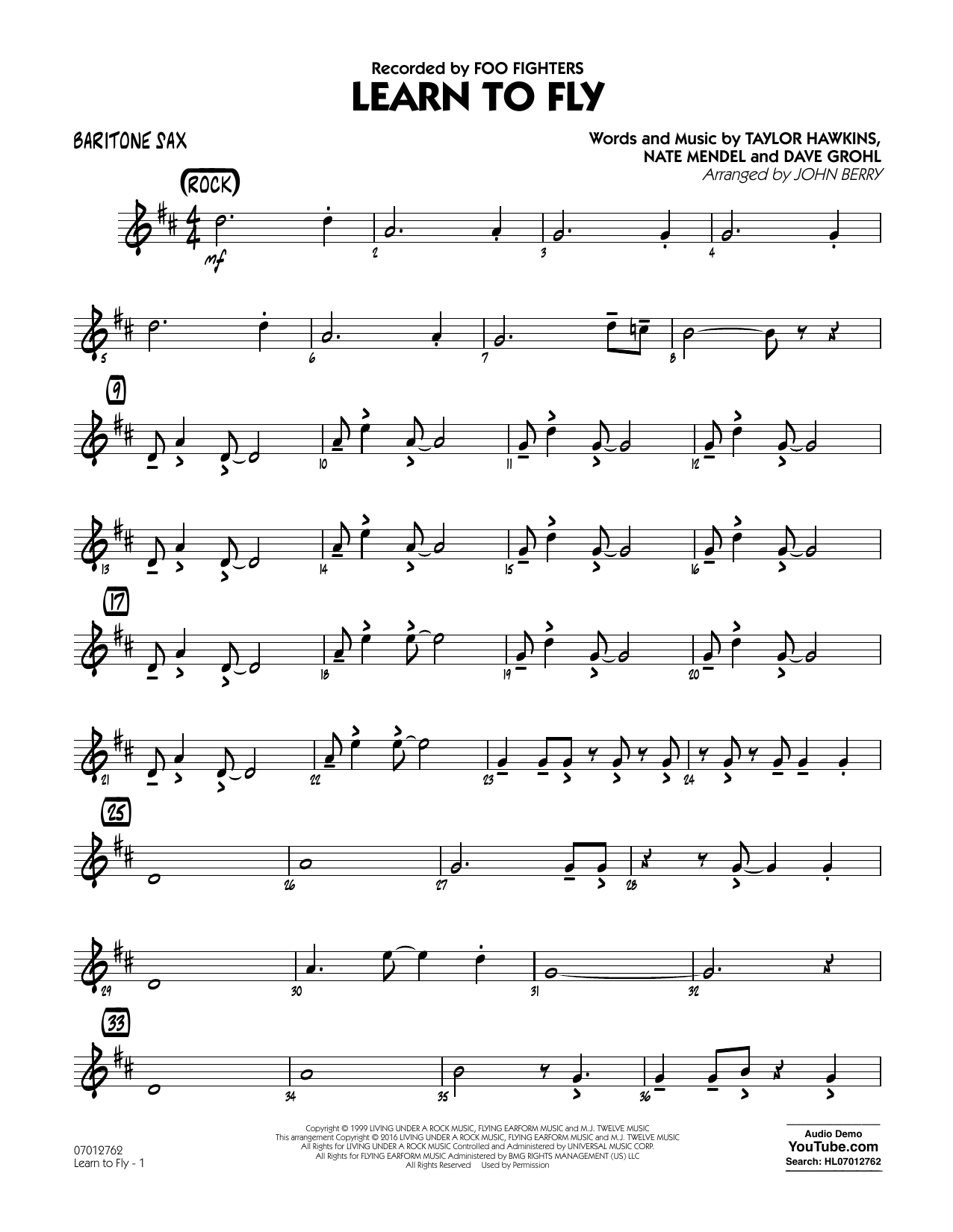 Learn to Fly - Baritone Sax (Jazz Ensemble)