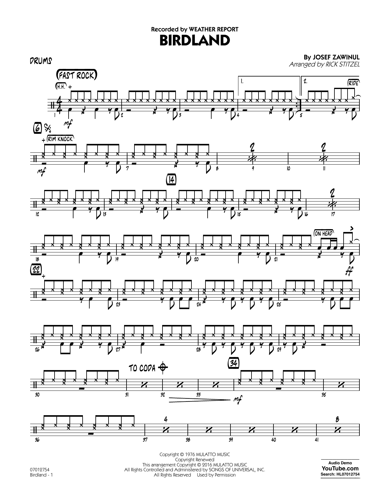 Birdland - Drums (Jazz Ensemble)